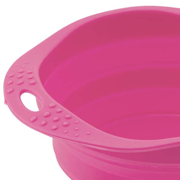 close up of pink travel bowl