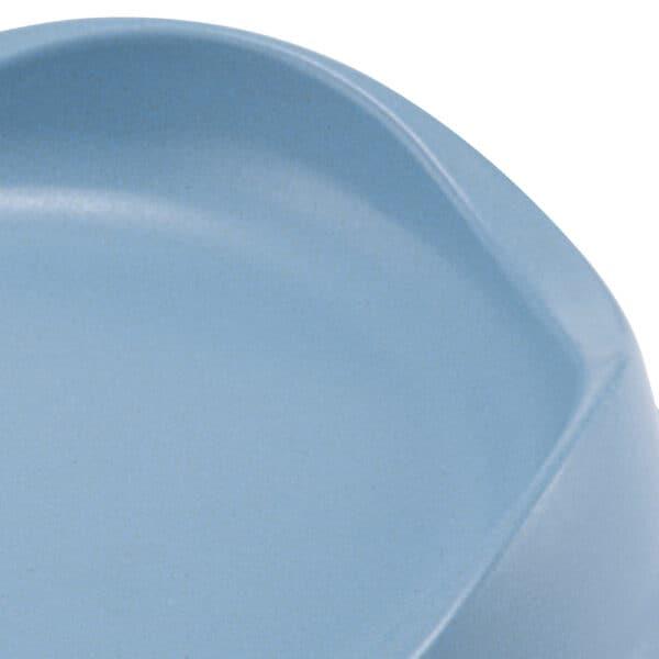 blue bamboo cat bowl close up